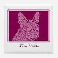 French Bulldog Rec (purple) Tile Coaster