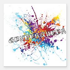 """Rainbow Splash Genderqueer Square Car Magnet 3"""" x"""