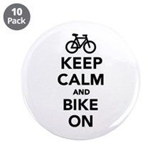 """Keep calm and bike on 3.5"""" Button (10 pack)"""