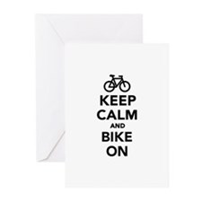 Keep calm and bike on Greeting Cards (Pk of 10)