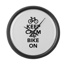 Keep calm and bike on Large Wall Clock