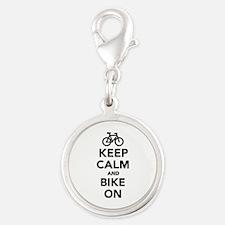 Keep calm and bike on Silver Round Charm