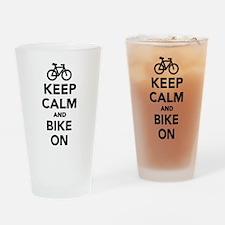 Keep calm and bike on Drinking Glass