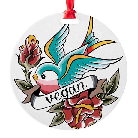 vegan tattoo design Round Ornament