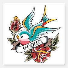 """vegan tattoo design Square Car Magnet 3"""" x 3"""""""