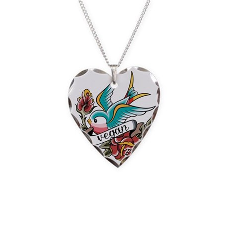Vegan tattoo design necklace heart charm by admin cp109358611 for Necklace tattoo designs