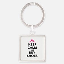 Keep calm and buy shoes Square Keychain