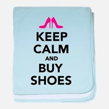 Keep calm and buy shoes baby blanket
