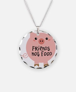 friends not food Necklace Circle Charm