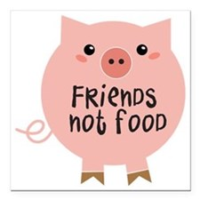 "friends not food Square Car Magnet 3"" x 3"""