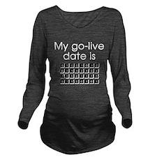 Binary Due Date June Long Sleeve Maternity T-Shirt