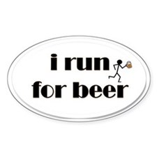 i run for beer Stickers
