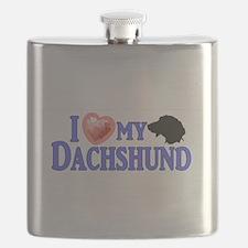 I love my Dachshund Bumpersticker 1 Flask