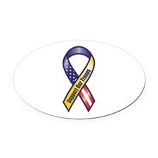 Support Our Troops - Ribbon Oval Car Magnet