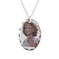 Smiling Jesus Necklace Oval Charm