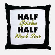 Half Geisha Half Rock Star Throw Pillow