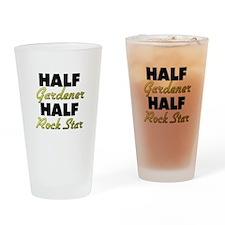 Half Gardener Half Rock Star Drinking Glass
