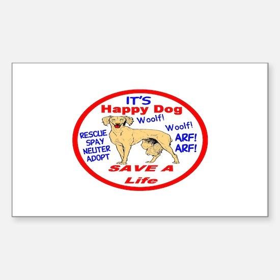 Happy Dog Sticker (Rectangle)