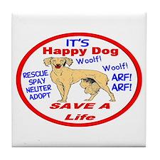Happy Dog Tile Coaster