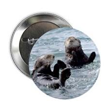 "Two by Two Otters 2.25"" Button"