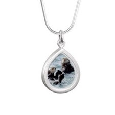 Two by Two Otters Silver Teardrop Necklace