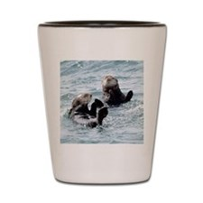 Two by Two Otters Shot Glass