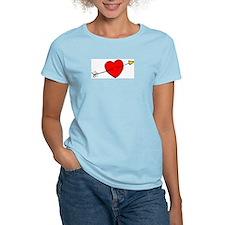 Arrow Through Heart Women's Pink T-Shirt
