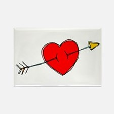 Arrow Through Heart Rectangle Magnet