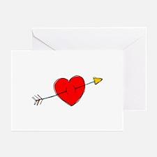 Arrow Through Heart Greeting Cards (Pk of 10)