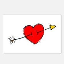 Arrow Through Heart Postcards (Package of 8)