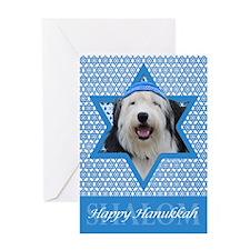 Hanukkah Star of David - Sheepdog Greeting Card