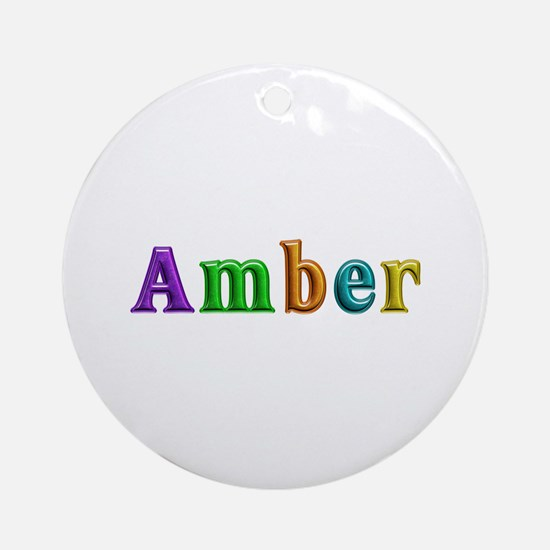 Amber Shiny Colors Round Ornament