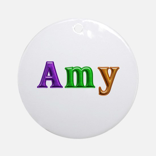 Amy Shiny Colors Round Ornament