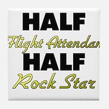Half Flight Attendant Half Rock Star Tile Coaster