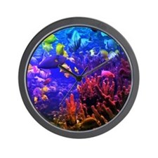Neon Fish Wall Clock