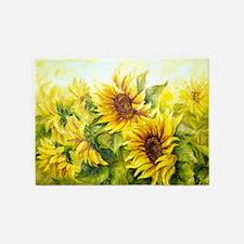 Sunflowers Oil Painting 5'x7'Area Rug