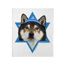 Hanukkah Star of David - Shiba Inu Throw Blanket