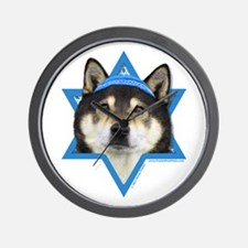 Hanukkah Star of David - Shiba Inu Wall Clock