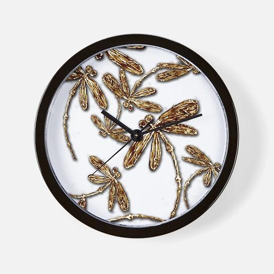 Golden Dragonfly Frenzy Wall Clock