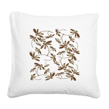 Golden Dragonfly Frenzy Square Canvas Pillow