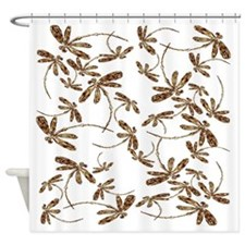 Golden Dragonfly Frenzy Shower Curtain