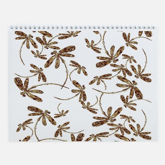 Golden Dragonfly Frenzy Wall Calendar