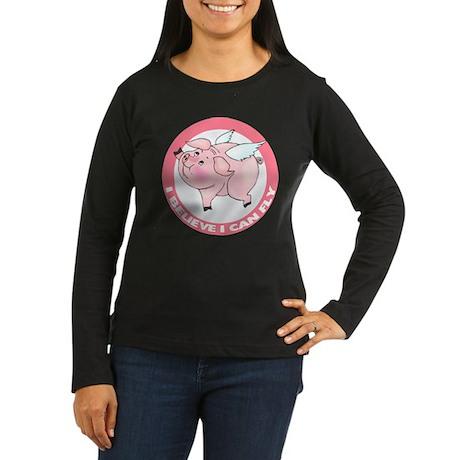 Inspirational Flying Pig Women's Long Sleeve Dark