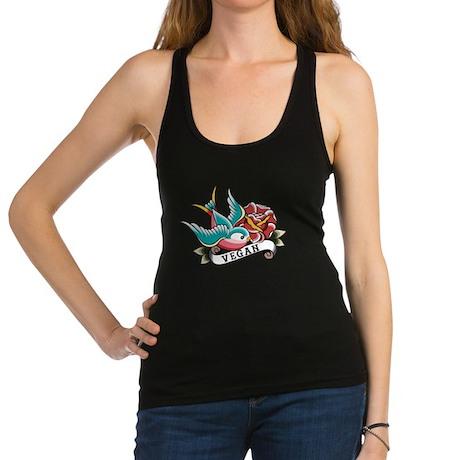 Vegan sparrow tattoo design Racerback Tank Top