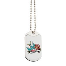 Vegan sparrow tattoo design Dog Tags