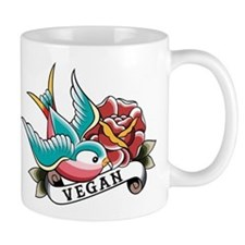 Vegan sparrow tattoo design Mug