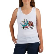 Vegan sparrow tattoo design Women's Tank Top