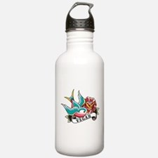 Vegan sparrow tattoo design Water Bottle