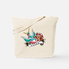 Vegan sparrow tattoo design Tote Bag