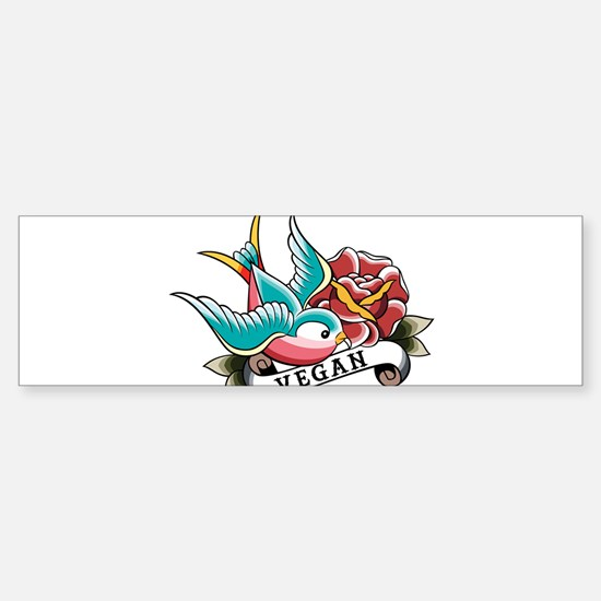 Vegan sparrow tattoo design Sticker (Bumper)